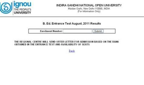 Ignou Mba Result by Ignou Bed Entrance Result 2018 2019 Studychacha