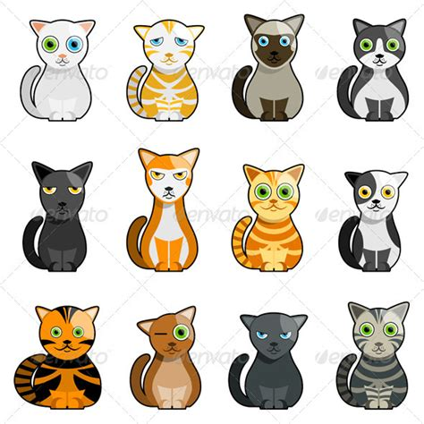 cat characters 12 cats illustration animals icon illustrations and font logo