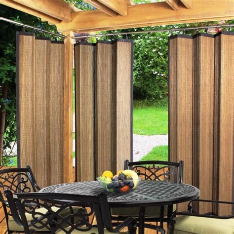 Outdoor Patio Curtains Enclosed Pergola Design With Unique Bamboo Curtain Also Solid Sturdy Material And Dining