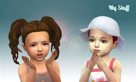 ponytailsims 4 child sims 4 hairs mystufforigin curls pigtails for toddlers