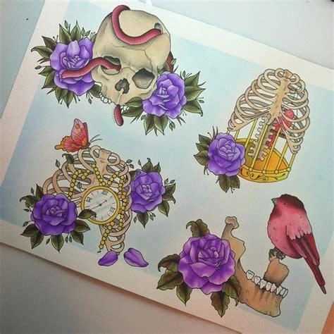 tattoo flash watercolor bones and more bones tattoo flash sheet watercolor