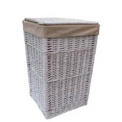 white wicker square white wicker laundry basket