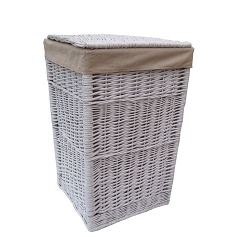 laundry basket square white wicker laundry basket