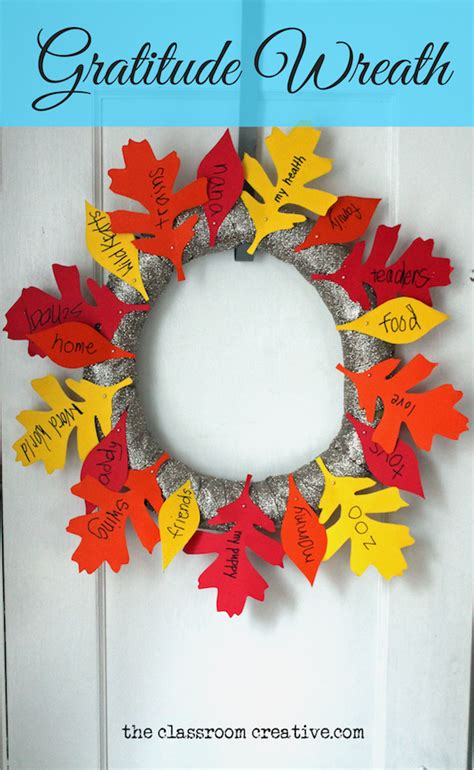 gratitude wreath craft with free leaf templates