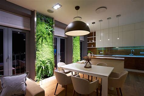accent green walls   stylish apartment