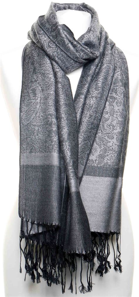Pashmina Jacquard Silk 57x200cm large grey paisley design 50 silk jacquard scarf pashmina shawl or wrap