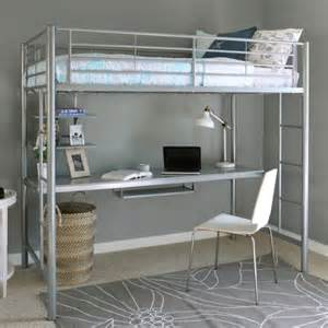 Bunk Bed With A Desk Underneath Metal Loft Bed With Desk Underneath Size Silver