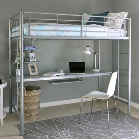 Metal Loft Bed With Desk Underneath Twin Size Silver Metal Loft Bunk Bed With Desk