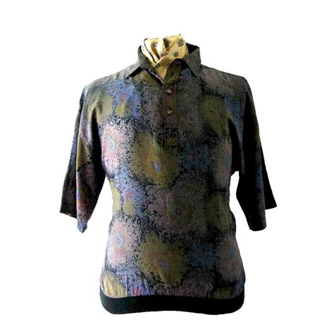 80s abstract pattern shirt 80s abstract casual shirt l blue 17 vintage fashion