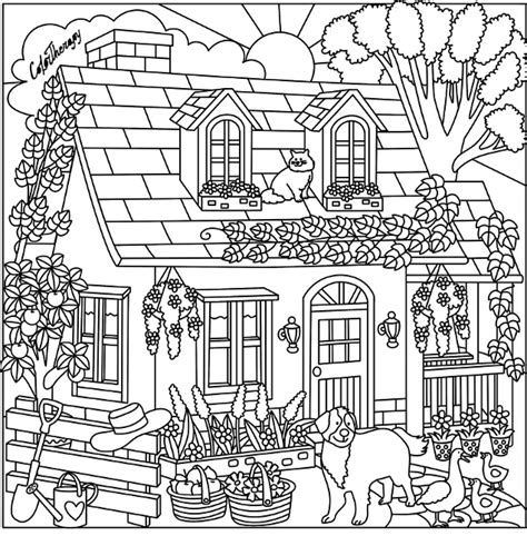 cottage house coloring page cottage coloring page color me happy pinterest adult