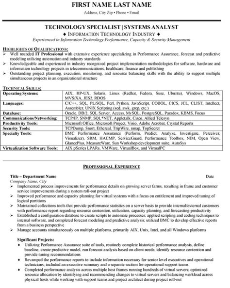 system analyst resume sles top technology resume templates sles