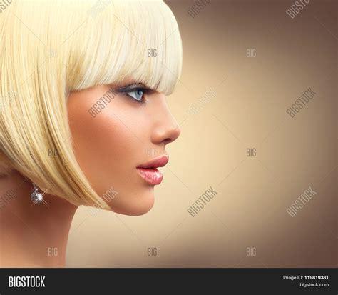 makeup for bob haircut beautiful fashion blonde woman bob image photo bigstock