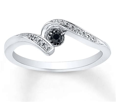 black and white engagement ring in white