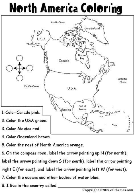 printable picture of north america north america