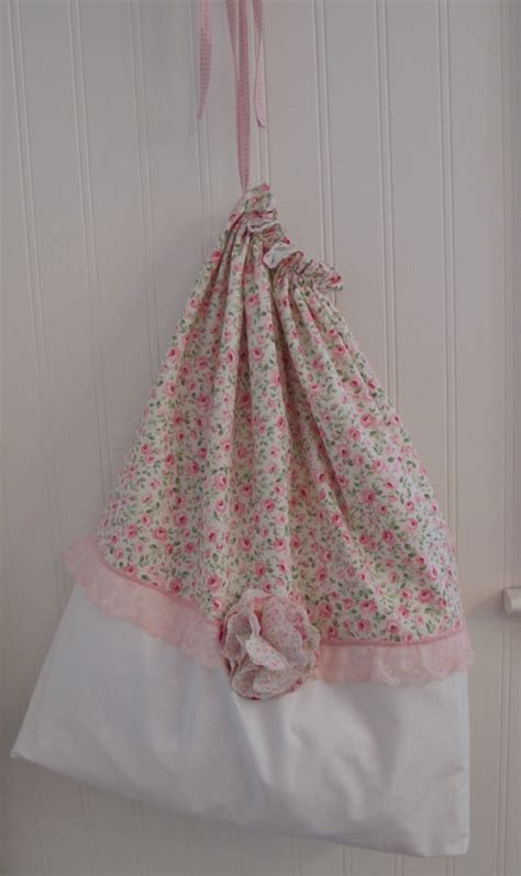 Tas Handbag Chic Pink shabby pink roses laundry bag by anniegaprons on etsy 27 00 sew
