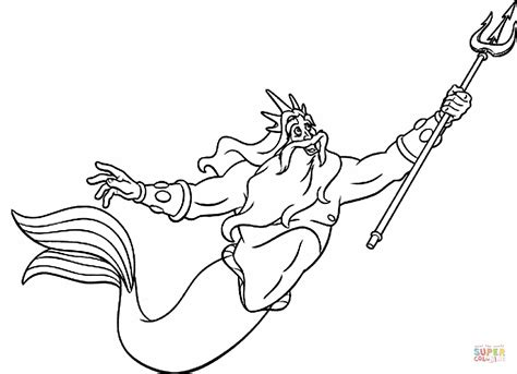Little Mermaid King Triton Coloring Pages | king triton coloring page free printable coloring pages