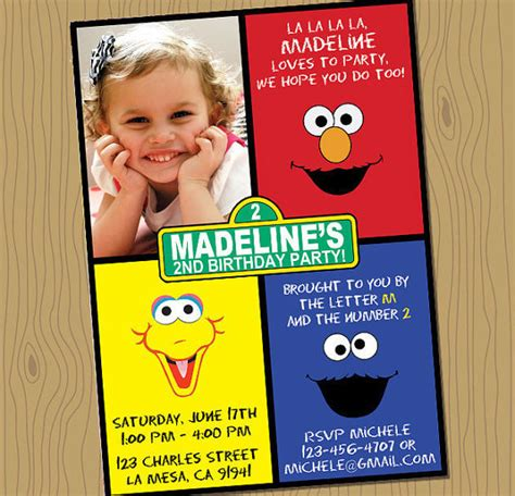 printable birthday invitations etsy sesame street birthday invitation digital file your print