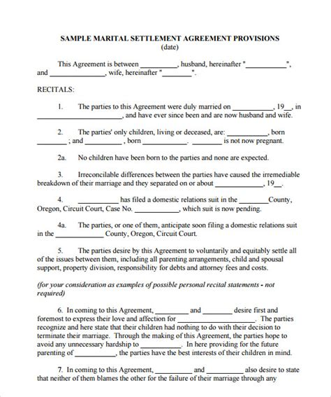 28 divorce settlement agreement template free