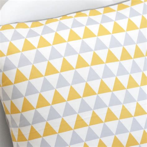 yellow cusion geometric yellow and grey cushion cover by quirkybee