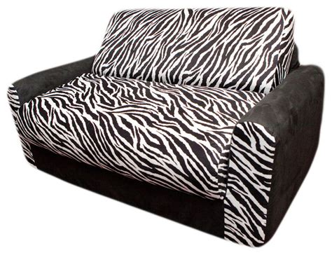 zebra couches fun furnishings zebra sofa sleeper with pillows in black