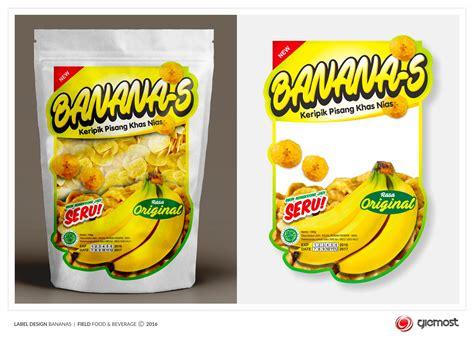 desain kemasan keripik pisang sribu desain label design label keripik pisang b a n a n