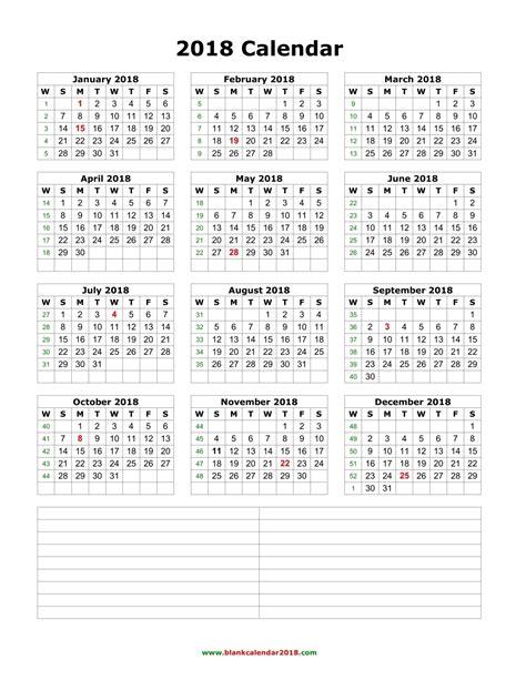 Kalendár Na Rok 2018 Blank Calendar 2018
