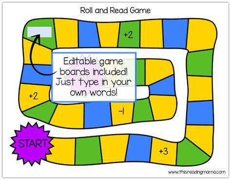 editable printable board games roll and read phonics games this reading mama