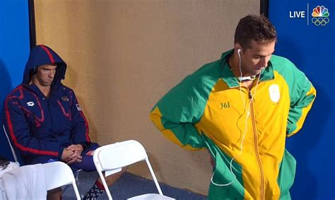 michael phelps shoots chad le clos death stare before