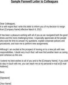 Apology Letter To Work Colleagues Free Sle Farewell Letter To Colleagues For Docx Pdf