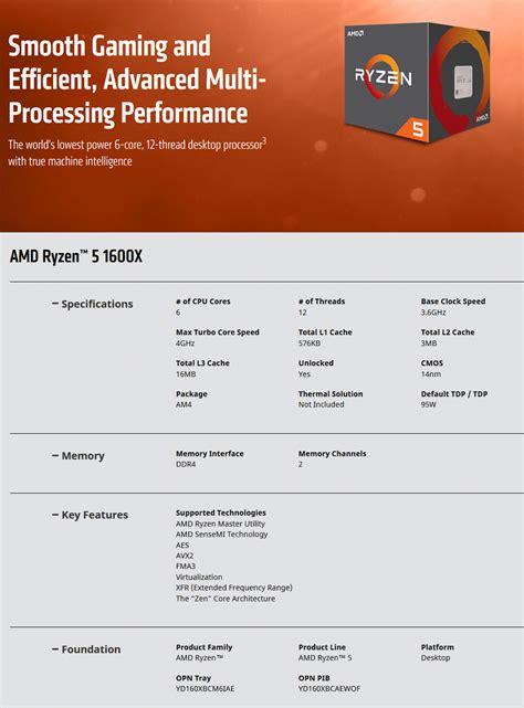 Amd Ryzen 5 1600x Cpu Prosesor Box by Amd Ryzen 5 1600x Processor Yd160xbcaewof Pc Gear
