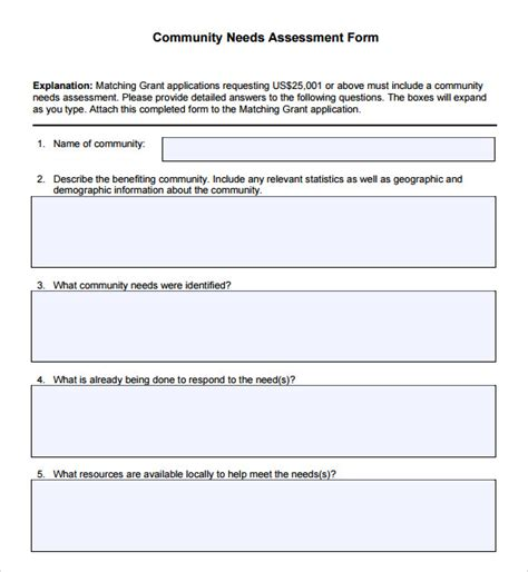 needs assessment template community needs assessment 9 free for pdf