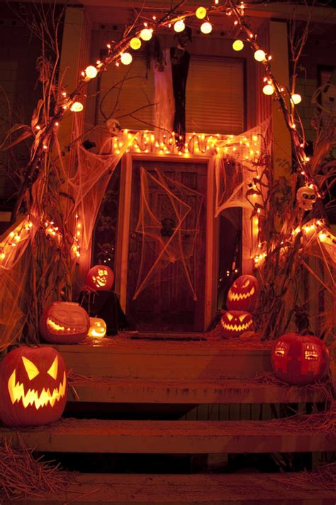 halloween porch lights and decorations pictures photos