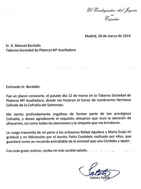 carta formal embajada jornada embajador japon en el restaurante taberna sociedad plateros mar 237 a auxiliadora