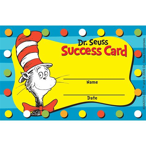 Gift Card Rewards - dr seuss cat in the hat reward punch cards eureka school