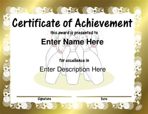 Bowling Certificate Template by Pin Bowling Award Certificates On
