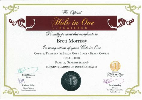 the official hole in one certificate the official hole