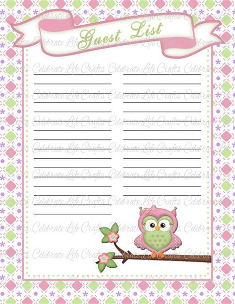 owl to do list printable owl baby shower guest list printable sign in sheet