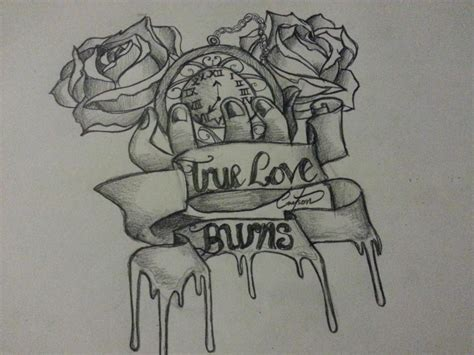 true love burns tattoo pencil roses scrolls by
