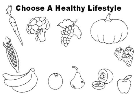 choose healthy food lifestyle coloring page kids