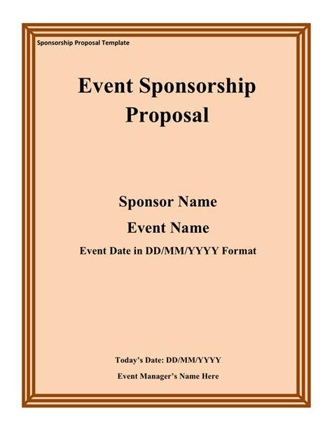 event sponsorship exle sponsorship template free documents