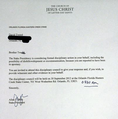Lds Acceptance Letter Exle Lds Claims Church May Excommunicate Him Anti Romney Views But Is This True