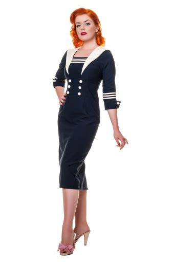 Louise Navy louise sailor pencil dress in navy