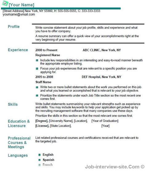 Resume Templates For Experienced Nurses Update 7214 Sle Resume For Nurses With Experience 37 Documents Bizdoska