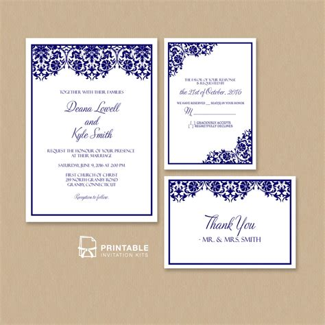 Damask Frame Wedding Invitation Templates Set Wedding Invitation Templates Printable Wedding Invitation Templates