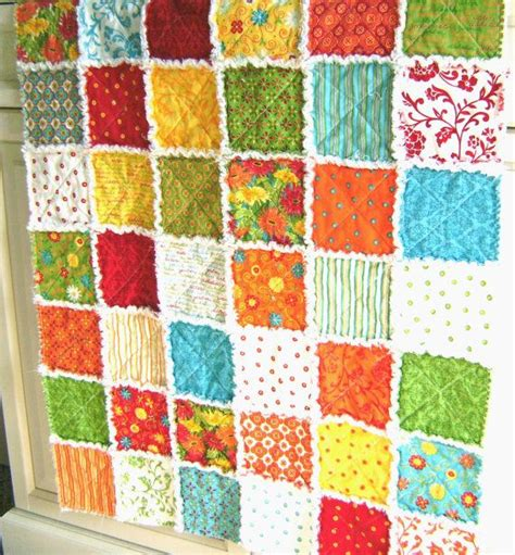 Handmade Rag Quilts - handmade rag quilt patchwork baby quilt