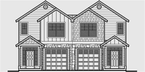 3 Bedroom House Floor Plans Duplex House Plans With Garage Narrow Lot Rowhouse Plans