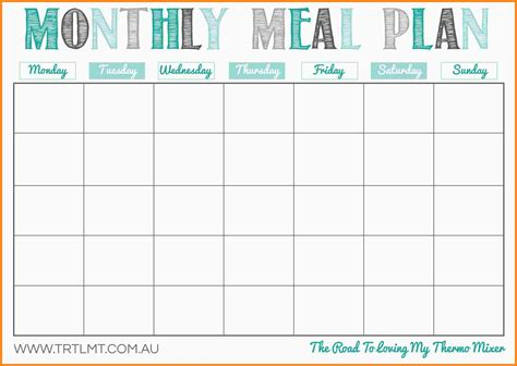 printable meal plan calendar 8 meal planning calendar letter format for