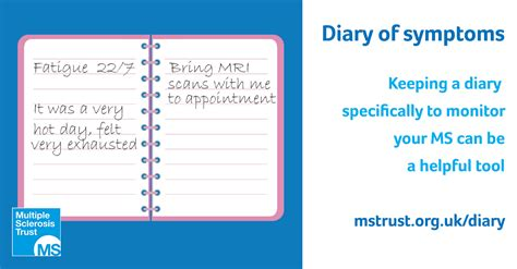 Diary Card Template by Diary Of Symptoms Ms Trust