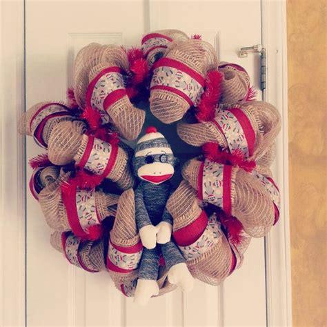 sock wreath sock monkey deco mesh wreath on etsy 60 00 mesh