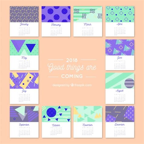 2018 creative calendar with geometric shapes vector free